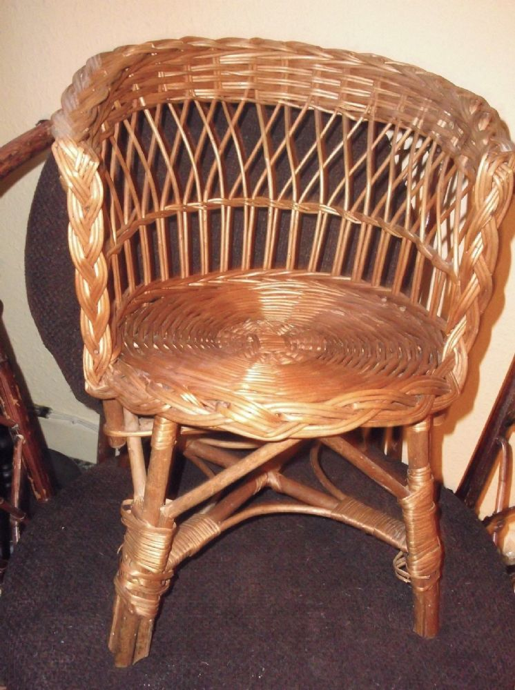 Vintage Wicker Woven Rattan Chair Child Or Display For